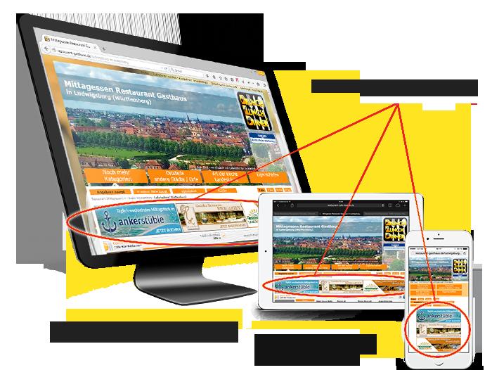 Onlinemarketing, Bannerwerbung in den Gastronomie-Portalen Ludwigsburg